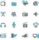 Television Set,Symbol,Computer Icon,Icon Set,Radio,Music,Movie,Communications Tower,Antenna - Aerial,Camera Film,Photography,Microphone,Film Slate,Sound,The Media,Film Reel,Photograph,Digital Camera,Clapboard,Global Communications,Play,Multimedia,Camera - Photographic Equipment,Wireless Technology,Communication,Black Color,Ilustration,Disk,Headphones,Computer,Newspaper,Volume - Fluid Capacity,Musical Note,Speaker,Clip Art,Mobility,Design,Shadow,Set,CD,Bullhorn,Vector,Sign