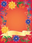 Leaf,Multi Colored,Flower,Butterfly - Insect,Summer,Backgrounds,Heart Shape,Vector,Copy Space,Abstract,Frame,Banner