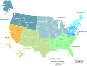 Usa Map In Zones With Its Territories Stock Vectors 365psd Com