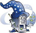 Wizard,Computer,Mobility,Humor,Computer Graphic,Blue,Technology,Data,Internet,Magician,Repairing,Magic Wand,Troll,Hard Drive,harddrive,Vector,DVD,Ilustration,Mascot,Electrician