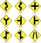 White Background,Road Sign,Sign,Transportation,Symbol,Multiple Objects,Isolated,Icon Set,Yellow,Arrow,Sketch,Vector,Ilustration,Doodle,Traffic,Warning Symbol