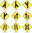 Sign,Road Sign,Transportation,Symbol,Multiple Objects,Isolated,Icon Set,Yellow,Warning Symbol,Sketch,Vector,Ilustration,Doodle,Arrow,Traffic,White Background