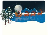 Santa Claus,Christmas,Sleigh,Sled,Reindeer,Village,Winter,Lake,Landscape,Sleigh Bells,Ilustration,Red,Traditional Festival,Moon,Gift,Swollen,12 O'Clock,Name Of Person,Dusk,to fly,Barley Sugar,Happiness,Journey,to slip,Midnight,December,Time,Reflection,Growth,to shine,Fame,Cold - Termperature,Travel Locations,Night,End Of The Year,To Bring,mysterieux,People,Scarf,aciculum,Cheerful,White,Black Color,Mirrored Pattern,Light - Natural Phenomenon,Concepts And Ideas,feast day