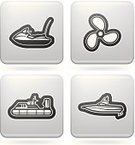 Hovercraft,Symbol,Nautical Vessel,on the water,Wakeboard Boat,Ship,Sign,Water Scooter,Gray,Vector,White Background,Motorboat,Propeller,White,Black Color