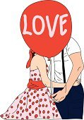 Love,Balloon,illustration vector,Happiness,Togetherness,Women,Men,Couple