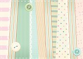 Sewing,Backgrounds,Button,Tailor,Scrapbooking,Textile,Pink Color,Blue,Striped,Design,Romance,Old,Material,Patchwork,Pattern,patched,shabby chic,Patch,Vector,Lace - Textile,Thread,Nostalgia