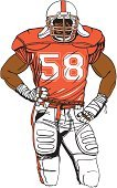Football Player,Vector,American Football - Sport,Muscular Build,Sports Uniform,Athlete,Football,Clip Art,Orange Color,Isolated,Isolated On White,Sport,White,Ilustration,White Background