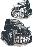 Semi-Truck,Truck,Driving,Van - Vehicle,Cartoon,Anger,Furious,Humor,Shipping,Freight Transportation,Ilustration,Vector,Human Teeth,Delivering,Land Vehicle,Cargo Container,Transportation,Machine Teeth,Industry,Tire,Wheel,Monster