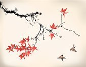 Japanese Culture,Japan,Painted Image,Chinese Culture,Paintings,China - East Asia,Branch,Bird,Leaf,Maple Tree,Nature,East Asian Culture,Drawing - Art Product,Ink,Autumn,Asia