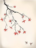 Maple Tree,Japanese Culture,Branch,Autumn,Leaf,Japan,Asia,Bird,Ink,China - East Asia,Drawing - Art Product,East Asian Culture,Painted Image,Paintings,Chinese Culture,Nature