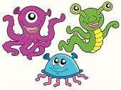 Monster,Cute,Art,Smiling,Alien,Looking,Variation,Set,Colors,Imagination,Cartoon,Fun,Abstract,Multi Colored,Drawing - Art Product,Isolated,Vector,Ilustration,Collection,Facial Expression,Tentacle,Smiley Face