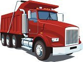Dump Truck,Red,Ilustration,Vector,Semi-Truck,Truck,Pick-up Truck,Cargo Container,Isolated,Horizontal,Transportation,Mode of Transport,Construction Industry,Land Vehicle,Isolated On White,Heavy,Single Object,Pouring,Computer Graphic