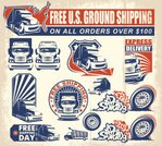 Truck,USA,Freight Transportation,Shipping,Sign,Label,Insignia,Grunge,Cargo Container,Vector,Ilustration,Crate,Van - Vehicle,Transportation,Service,Blue,Car,Banner,Business,Land Vehicle,Sale,Red,Design Element,Retail,Delivering,Design,Shopping Cart,Symbol,Industry,Circle,Shopping,Placard