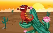Reptile,Chameleon,Mammal,Plant,Animal,Sand,Carnivore,Desert,Forest,Outdoors,Wildlife,Smiling,Zoo,tanding,Computer Graphic,Photograph,Red,Yellow,Multi Colored,Clip Art