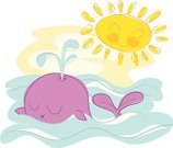 Ilustration,Cartoon,Swimming Animal,Wave Pattern,Vector,Wave,Characters,Sea Life,Cute,Happiness,Sunrise - Dawn,Sun,Sea,Sunlight,Whale,Tranquil Scene,Nature,Cheerful,good morning