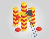 Business,Toy,Ladder,Plastic Block,Construction Industry,Concepts,Isolated,Stability,Leisure Games,Built Structure,Building - Activity,Foundation,Vector,Businessman,Organization,Leadership