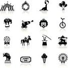 Circus,Computer Icon,Symbol,Monkey,Circus Tent,Ferris Wheel,Ball,Elephant,Seal - Animal,Cannon,Icon Set,White,Black Color,Design Element,Carousel,Cage,Performer,Lollipop,Gorilla,Animal,Flame,Ice Cream,Parent,Ticket,Clown,Candy,Performance,Balloon,Zoo,Horse,Cartoon,Interface Icons,Illustrations And Vector Art,Hat,Entertainment