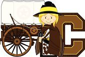 Covered Wagon,Horse Cart,Learning,Hat,Computer Graphic,One Person,Transportation,Mode of Transport,Handgun,Star Shape,Cowgirl,Poncho,Isolated,chuck wagon,Cartoon,Sheriff,Cute,Badge,lawman,Aiming,Fun,Cowboy Hat,Gun,Cowboy,Wheel,Weapon,Education,Characters,Vector,Alphabet,Clip Art,Wild West,Ilustration,Letter C,Spelling,10 Gallon Hat