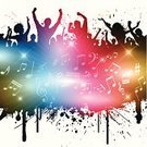 Party - Social Event,People,Ilustration,Crowd,Music,Dancing,Group Of People,Grunge,Backgrounds,Musical Note,Disco,Eps10,Treble Clef,Men,EPS 10,Vector,Women,Abstract