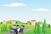 Police Force,Hill,Plant,Street,Village,Patrol car,enforcer,Land Vehicle,Tree,Officer,Men,Little Boys,Clip Art,Computer Graphic,Photograph,Image,Blue,People