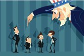 Uncle Sam,Choice,Aspirations,Recruitment,Business,Human Resources,headhunter,Job Search,Interview,Occupation,Vector,People,Businessman,Manager,Searching,Unemployment,Ilustration,vector art,Social Issues,Business Person,editable,resource,Decisions,Opportunity,Strategy,Planning,Examining
