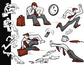 Running,Pushing,Tired,Businessman,Men,Working Late,Exhaustion,Office Interior,Waiting,Coffee - Drink,Urgency,Spilling,Satchel - Bag,Button Down Shirt,Coffee Cup,Newspaper,Sitting,Document,Clock,Tying,Pouring,Jumping,Competition,Sports Race,Illustrations And Vector Art,Resting,dress pants,Mobile Phone,Steam,Briefcase