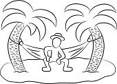 Desert Island,Travel,Vector,Leisure Activity,Sparse,Tropical Climate,Recreational Pursuit,Vacations,Men,Sketch,Sea,Beach,Sand,Design,Hammock,Ilustration,Pencil Drawing,Palm Tree,Summer,Simplicity,Solitude,Loneliness,Travel Destinations,Nature,Tree,Leaf,Idyllic,One Person,Isolated,Desert,Drawing - Art Product,Doodle,Comic Book,Cartoon,Island