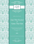 Wedding Invitation,Invitation,Frame,Formalwear,Backgrounds,Elegance,Silk,template,Ornate,Turquoise,Vector,Wedding,Ilustration,Text,Typescript,Decoration,Calligraphy,Old-fashioned,Pattern