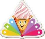 Ice,Human Mouth,Human Eye,Sweet Food,Cream,Cup,Food,Colors,Strawberry,Ice Cream Cone,Icing,Pastry,Cartoon,Dessert,Spinning,Merchandise