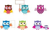 Owl,Decoration,Spotted,Red,Pattern,Humor,Elegance,Wildlife,Animal,Isolated,Bird,Animals In The Wild,Creativity,Small,Drawing - Activity,Vector,Cheerful,Set,Stuart Young,Group Of Animals,Ilustration,Art,Cute,Color Image,Collection,Variation