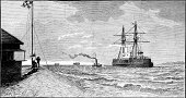 Navy,UK,Ilustration,Old,The Past,England,Toughness,Southeast England,Hampshire - England,Europe,Victorian Style,Antique,Ironclad,Sailing Ship,British Military,Historical Ship,Military Ship,Mode of Transport,Water,Natural Phenomenon,Image Created 19th Century,History,Old-fashioned,Black And White,Styles,Military,19th Century Style,Battleship,Royal Navy,Armed Forces,Coastal Feature,Engraved Image,Coastline,Obsolete,Nautical Vessel,Sea,Warship