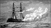 Nautical Vessel,Military Ship,Ilustration,Sailing Ship,Cannon,The Past,Black And White,Conflict,Old,Military,Warship,Armed Forces,Styles,Antique,Engraved Image,Image Created 19th Century,Aiming,Mode of Transport,Obsolete,Sea,Royal Navy,Weapon,Historical Ship,British Military,Toughness,History,Old-fashioned,Victorian Style,Gun,Coastline,Shooting,War,Navy,Historical War Event,19th Century Style,Natural Phenomenon,Ironclad,Battle,Coastal Feature,Battleship