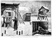 Thermometer,Weather Station,Meteorologist,Ilustration,History,Black And White,Winter,Snow,Old,Forecasting,England,Built Structure,Northern Europe,Professional Occupation,Cold - Temperature,Greenwich,Southeast England,Barometer,Temperature,Greater London,Weather,Equipment,Obsolete,Victorian Style,The Past,Man Made Structure,Science,Season,Old-fashioned,Europe,Scientist,Image Created 19th Century,Engraved Image,UK,Frozen Water,Instrument of Measurement,Meteorology,19th Century Style,Meter - Instrument Of Measurement,Inner London,London - England,Styles,Royal Observatory,Measuring,Antique