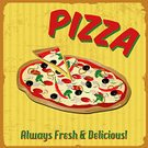 Vintage Pizza Sign Background Template OR Box Design Stock