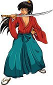 Manga Style,Japan,Japanese Culture,Men,Cartoon,Samurai,Vector,Japanese Ethnicity,Ninja,Warrior,Black Hair,Isolated,East Asian Culture,Ilustration,Ponytail,Sword,Clothing,Asian Ethnicity,One Person,Cultures,Kimono,Full Length,Asia,Image,Style,Male Beauty,Clip Art,hakama,Katana,Front View,Young Adult,Standing,Isolated On White,Long Hair,Cut Out,Teenager,White Background,Real People,Male,Martial Arts,Holding