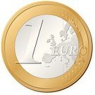 One Euro Coin,Coin,European Union Currency,Europe,Business,Currency,Finance,Isolated,Ilustration,Vector,Number 1,Gold Colored,Silver Colored