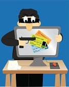 Credit Card,Thief,Stealing,Identity,White Collar Crime,Vector,Criminal,Criminal Activity,Downloading,Computer,Network Security,Security Breach,Security System,identity theft,Data,Crime,Currency,Internet,Desk,Cyber Crime,Business,Security,Computer Hacker,Burglar,Burglary