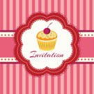 Vector,Ilustration,Cake,Gourmet,Red,Striped,Romance,Party - Social Event,Sweet Food,Backgrounds,Birthday,Bakery,Greeting Card,Invitation,Cookie,Food,Celebration,Cupcake,Muffin,Anniversary,Dessert