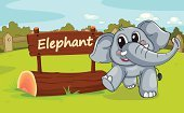 Animal,Mammal,Land,Fence,Clip Art,Sign,Elephant,Nature,Enclosure,Mascot,Cute,Zoo,Wildlife,Wood - Material,Cub