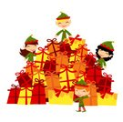 Stack,Christmas Present,Elf,Gift,Characters,Christmas,Group Of People,Cartoon,Group of Objects,Holiday,North Pole,Happiness,Toy,Cheerful,Fun,Santa Claus,Smiling