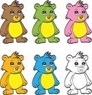 Cartoon,Bear Cub,Ilustration,Collection,Outline,Sketch,Young Animal,Animal,Animals In The Wild,Vector,Coloring Book,Zoo,Blue,Bear,Set,Brown,Green Color,Incomplete,Pink Color,Orange Color,Cute