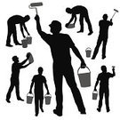 Silhouette,Working,People,Bucket,Construction Industry,Cargo Container,Male,Group of Objects,Sketch,Men,Industrial Equipment,Design Element,Ilustration,Manual Worker,White Background,Vector,Foreman,Black Color,Isolated,Isolated On White,Construction Site,Adult,Brushing,Paint Roller,Cut Out,Collection