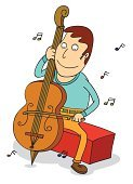 Cartoon,Practicing,Music,Cello,Vector,Characters,Ilustration,Musical Instrument String,Men,Harmony,Clip Art,Classic,Happiness,Sound,Musical Note,Bow,Fun,Enjoyment,Musician,Orchestra,Holding,Playing,Rubbing,Smiling,Sitting,Listening,Classical Theater