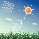 Vector,Ilustration,Morning,Positive Emotion,Shiny,Nature,Backgrounds,Day,Bright,Eggs,Sunny,good morning,Message,Sky,Springtime,Abstract,Sun,Design,Design Element,Style,Summer,Beautiful,Cartoon,Scrambled Eggs,Beauty In Nature,Banner,Grass