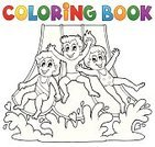 Child,Coloring,Ilustration,Vector,Coloring Book,Water Park,Water Ride,Fun,Little Girls,Vacations,Little Boys,Splashing,Season,Slide - Play Equipment,Clip Art,Book,Outline,People,Recreational Pursuit,Water,Playing,Sliding,Smiling,Art,Cartoon,Computer Graphic,Joy,Design,Swimwear,Summer,Activity,Childhood,Eps10
