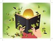 Reading,Child,Book,Holding Hands,Vector,Library,Summer,Homework,Imagination,Creativity,Fun,Learning,Intelligence,Bird,Thinking,Childhood,Education,Dreamlike,Fantasy,Small,Environmental Conservation,Cute,open book,Elementary Age,Student,Textbook,Branch,Nature,green leaves