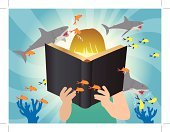 Book,Child,Reading,Imagination,Underwater,Homework,Elementary Age,Cute,Thinking,Nature,under the sea,Library,Intelligence,Student,Vector,Fantasy,Childhood,Summer,Textbook,open book,Education,Small,Fun,Creativity,Dreamlike,Learning