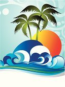 Backgrounds,Tropical Climate,Tourism,Vacations,Travel,Wave,Palm Tree,Plant,Tree,Summer,Beach,Nature,Sun,Ilustration,Sea,Vector,Abstract,Seascape,Relaxation