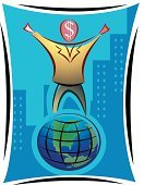 Symbol,Globe - Man Made Object,Dollar,Finance,Business,Investment,Ilustration,Currency,Men