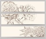 Peony,Horizontal,Wedding,Banner,Flower,Scrapbook,Sketch,Retro Revival,Single Flower,Vector,Blooming,Hand Draw,Ilustration,Scrapbooking,Decor,Design,Nature,template,Set,Blossoming,Decoration,Summer,Romance,Old-fashioned,Blank